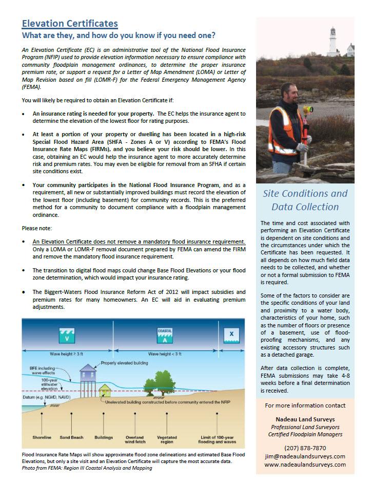 Nadeau Land Surveyselevation Certificate Informational Flyer